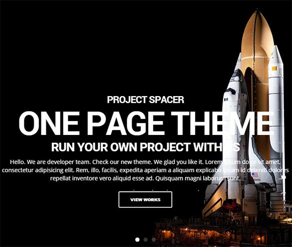 spacer parallax one page html5 template