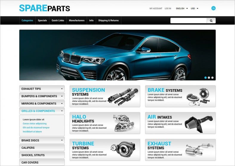 spare parts zencart ecommerce template 788x558
