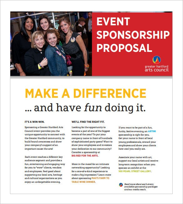 sponsorship proposal sample for events