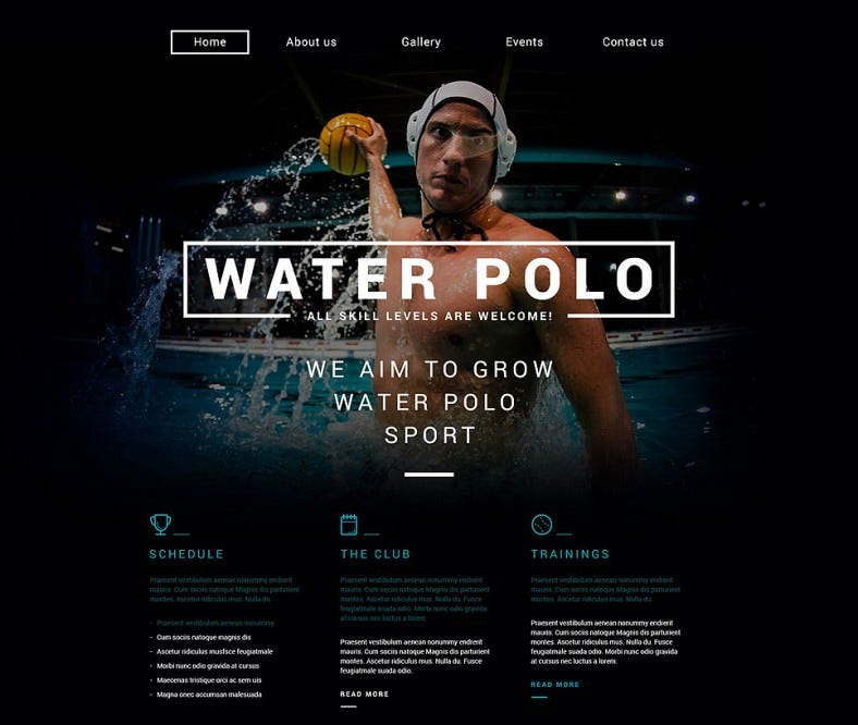 Sport Responsive Dark Website Template