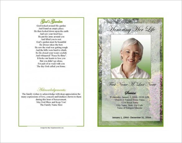 Spring Garden Obituary Program Template  Free Obituary Program Template