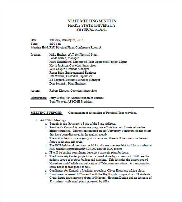 Staff Meeting Minutes Template 6 Free Sample Example Format – Meeting Minute Sample
