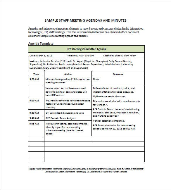 Staff Meeting Minutes Template   Free Sample Example Format