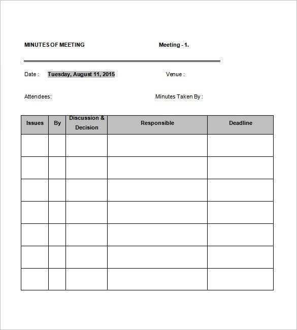 staff meeting minutes template