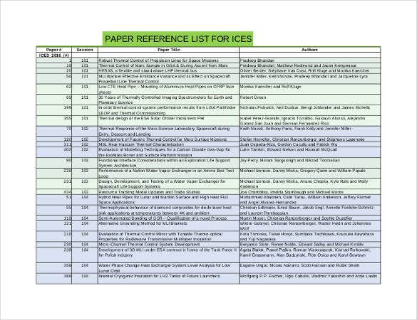 standard reference list for paper