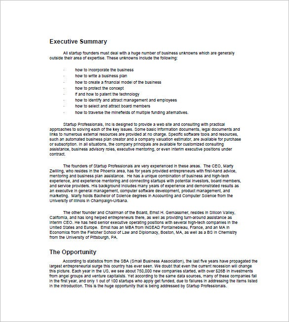 example of executive summary of a business plan | Template