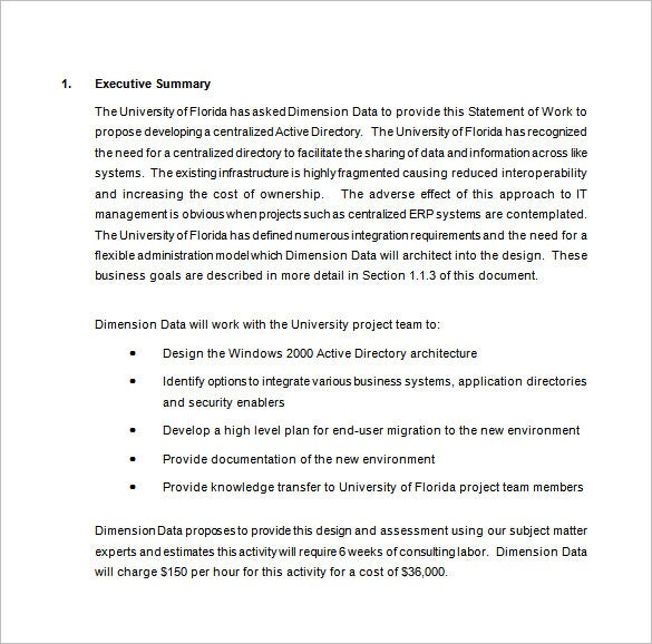 statement of work proposal free download