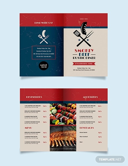 steakhouse bbq restaurant take out bifold brochure template