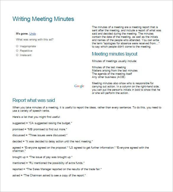 steps to writing meeting minutes
