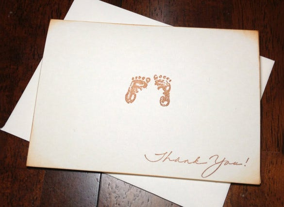 stunning baby shower thank you card
