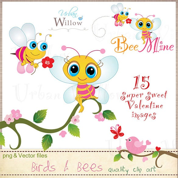 stunning birds and bees illustrator template