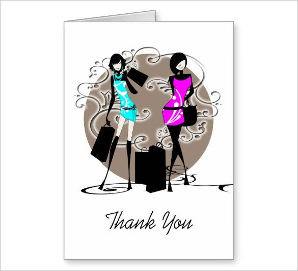 stunning fashion thank you card