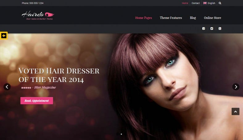 Stylish Hair Salon & Barber Shops Website Template