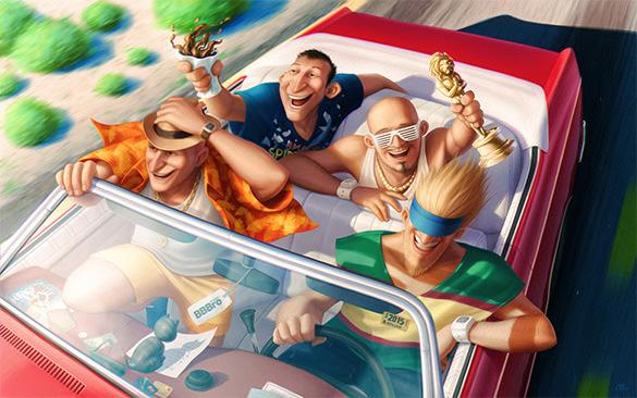 summer getaway illustration design