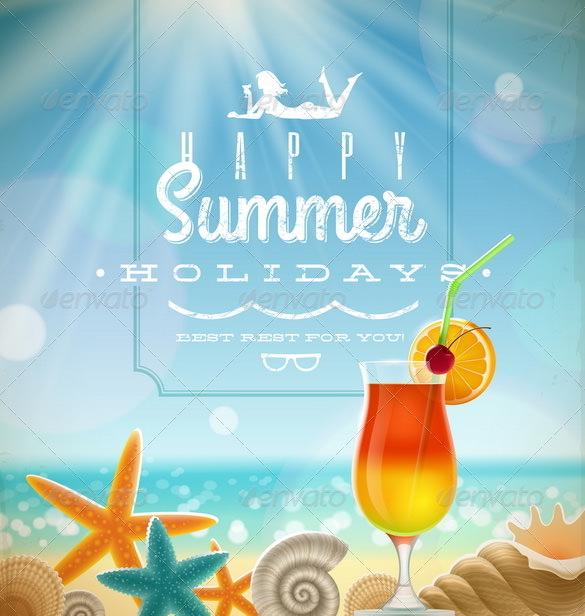 summer holidays illustration vector eps
