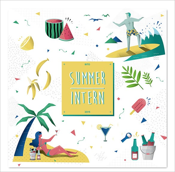 summer intern illustration template