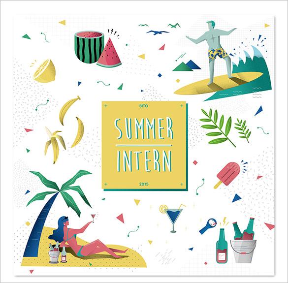 summer intern illustration template
