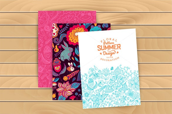 summer pattern and congratulations card template