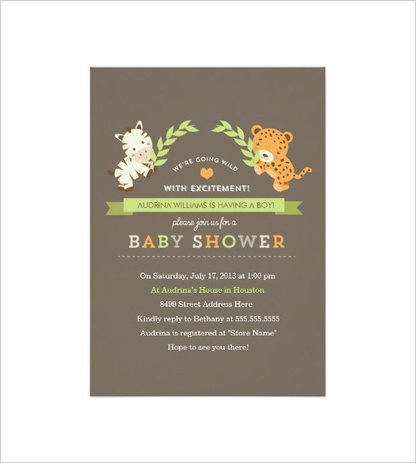 sweet safari baby shower template