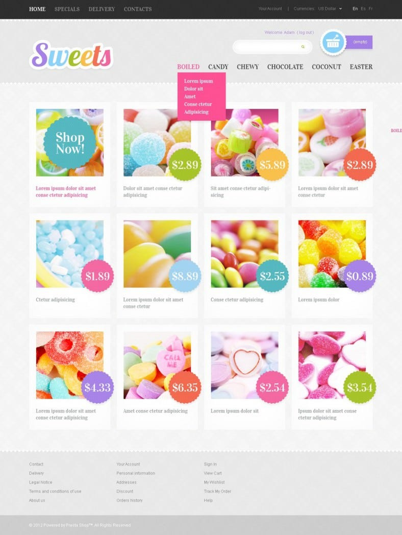 Sweets Home Delivery PrestaShop eCommerce Theme