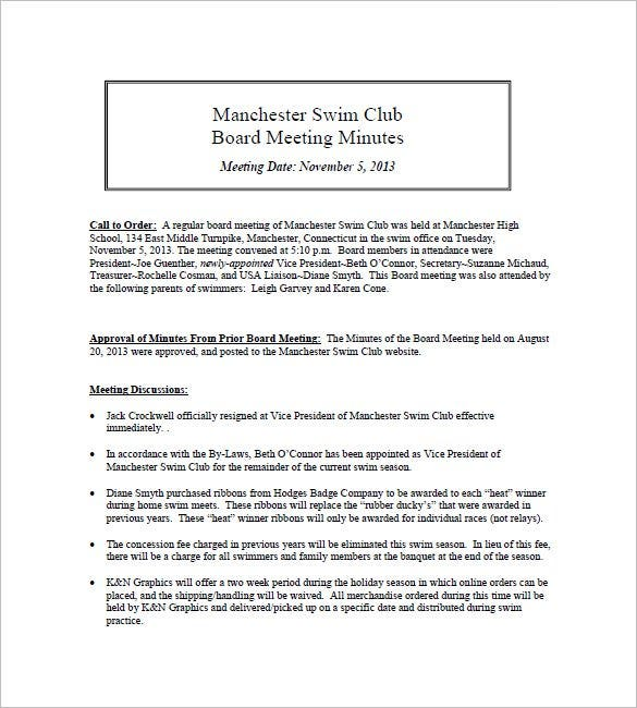 swim club meeting minutes template