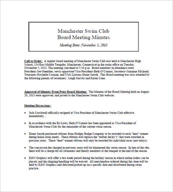 swimming club meeting minutes template