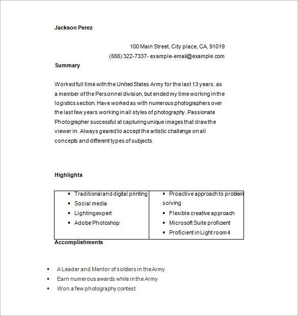 tv photographer resume word download