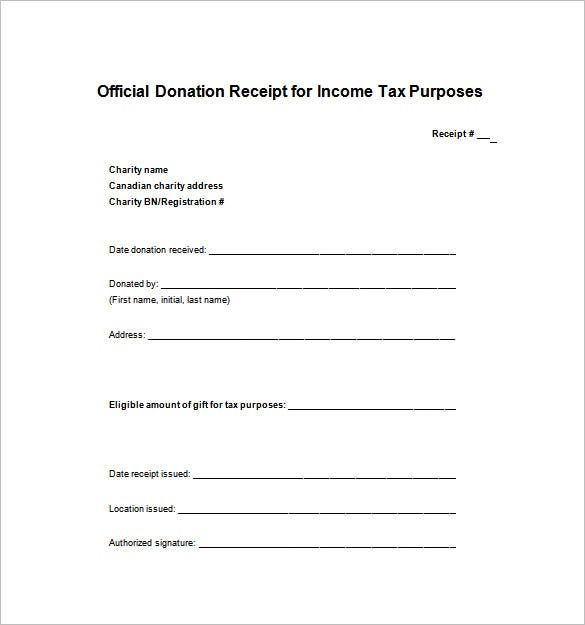 Printable daycare receipt template