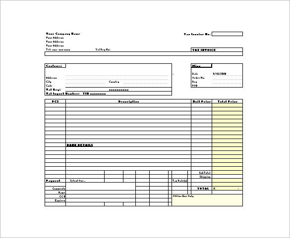 tax invoice receipt in excel format download