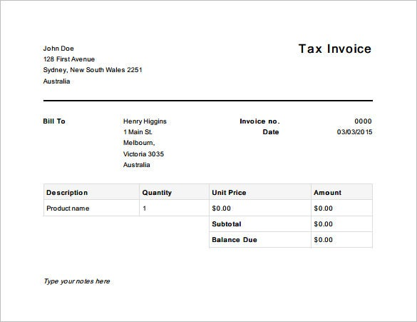 tax invoice template australia free pdf download