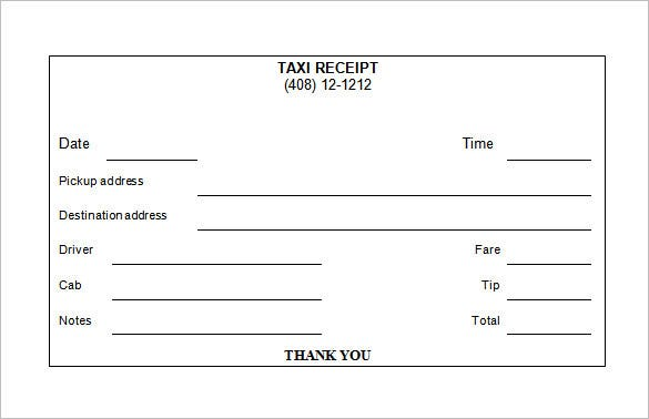 Taxi Receipt Template 9 Free Sample Example Format Download – Sample of a Receipt