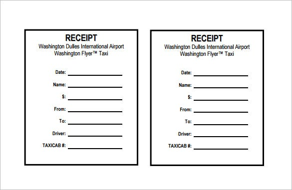 Receipt Template 90 Free Printable Word Excel PDF Format – Taxi Bill Format in Word