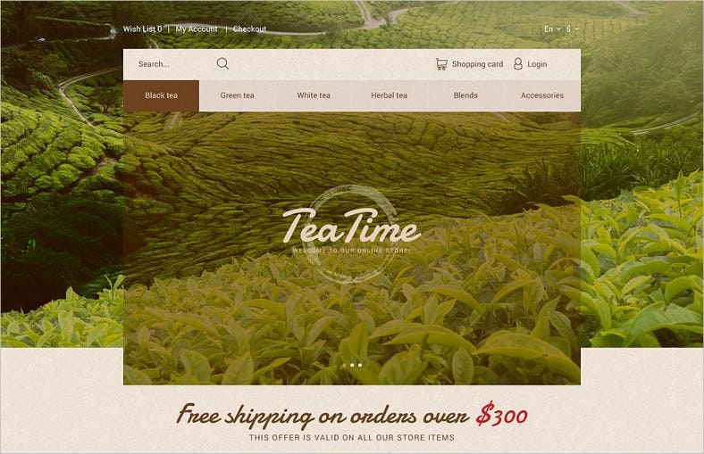 tea time opencart template 788x509