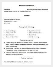 teacher resume example template doc