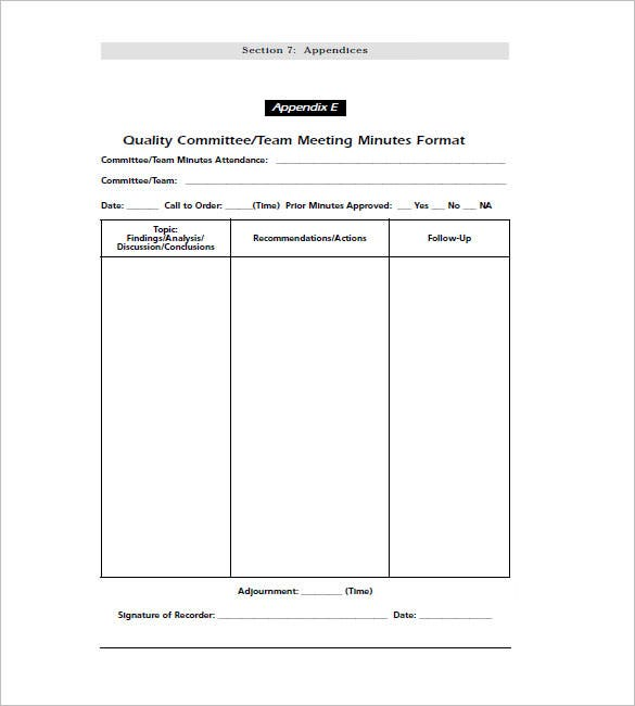 Team Meeting Minutes Template   Free Sample Example Format