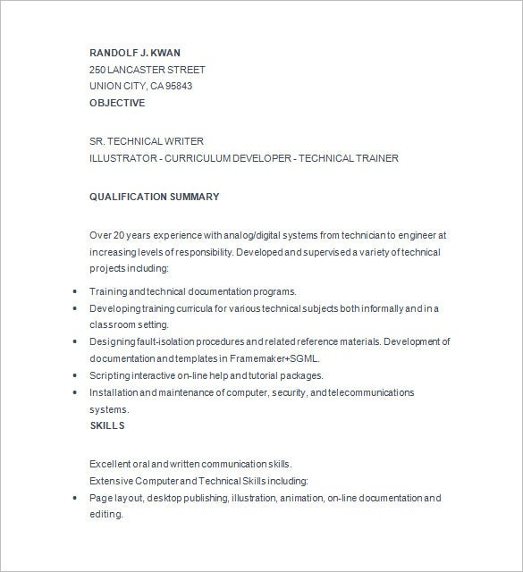 technical writer resume template