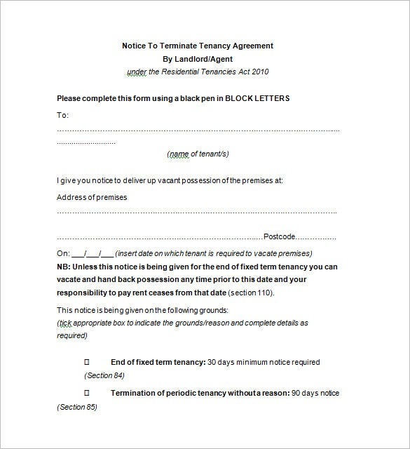 Notice of termination letter other versions s arizona for Notice to end tenancy template