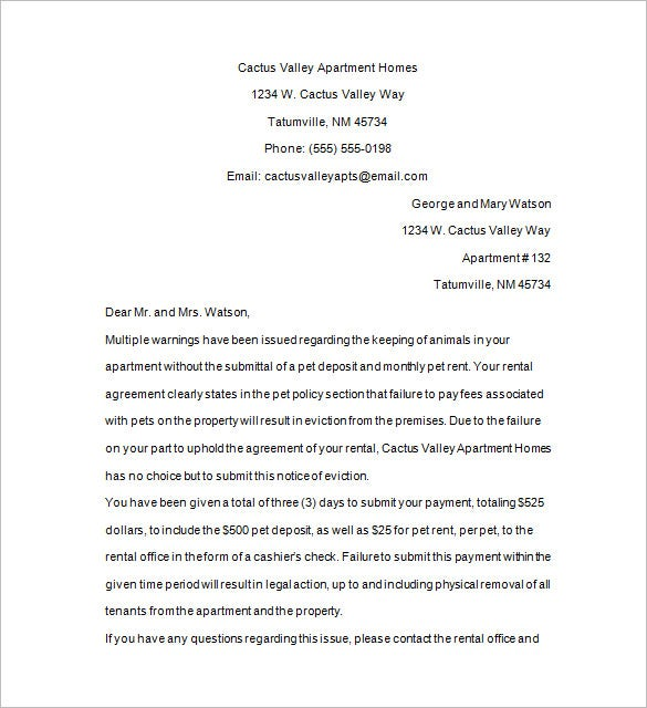 tenant eviction letter format download