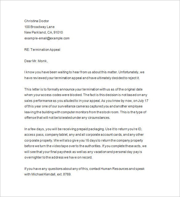 Termination Of Employment Perfect Termination Letter Samples Lease