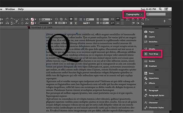 text wraping in adobe indesign example