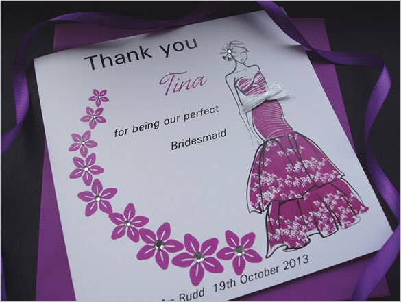 thank you bridesmaid floral swirlcard