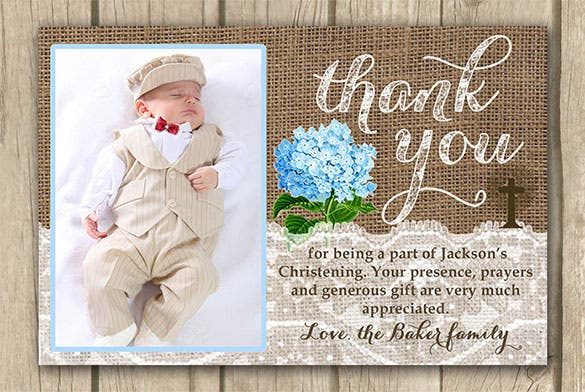 21 christening thank you cards free printable psd eps indesign thank you card with photo boy thank you m4hsunfo Images