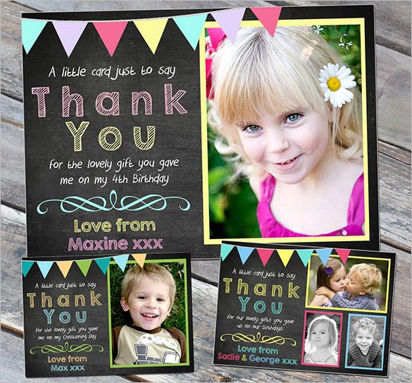thank you cards chalkboard boy girl