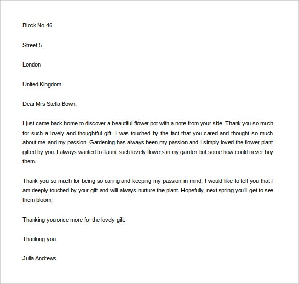 thank you letter for gift 9 free word excel pdf format download