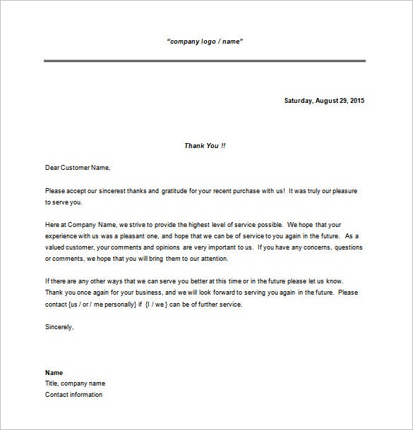 thank you for your business sample letter