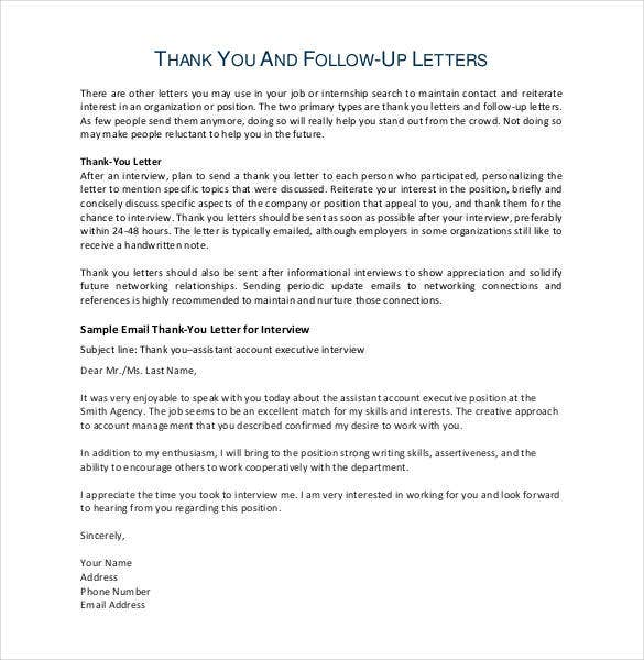 Thank You Email After Teaching Interview   Free Sample