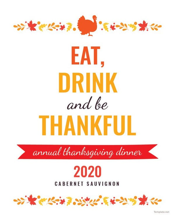 thanksgiving wine bottle label template