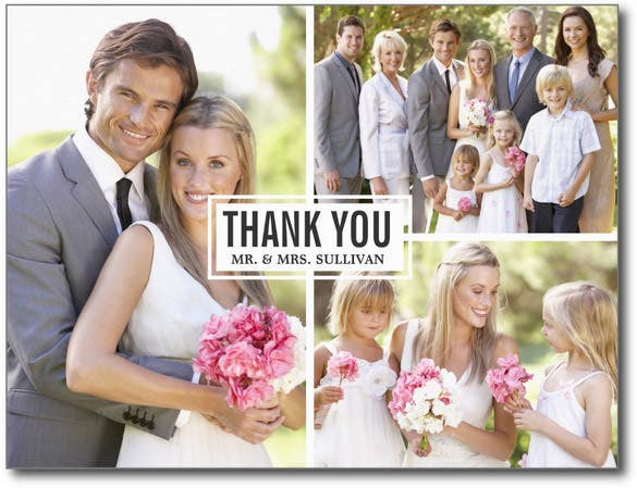 three photo collage wedding thank you card