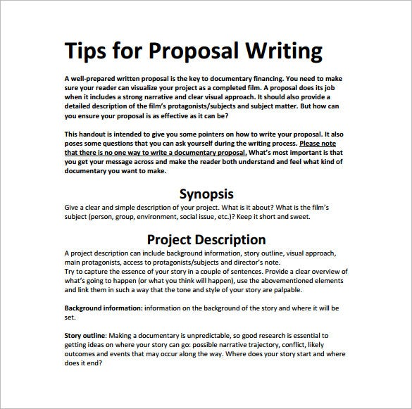 Writing Proposal Template 12 Free Word Excel PDF Format – Project Proposal Format Template