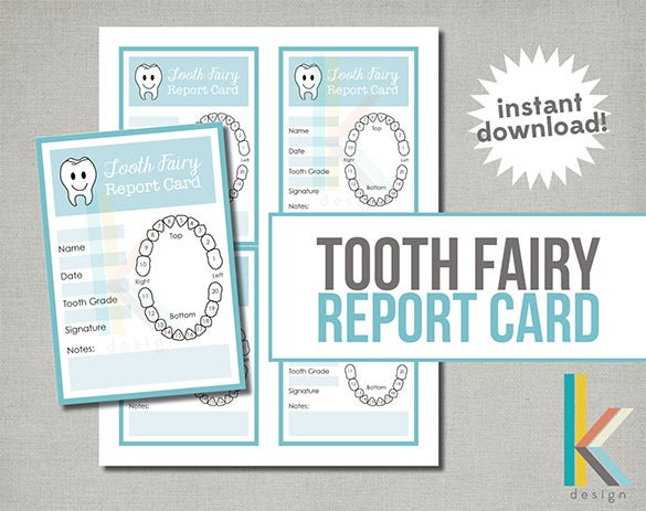 tooth fairy report card template